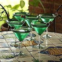 Martini glasses, 'Vegetation' (set of 6) - Artisan Crafted Handblown Glass Martini Stemware (Set of 6)