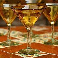 Martini glasses, 'Amber' (set of 6) - Hand Blown Martini Glasses Set of 6 Golden Mexico