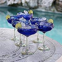Margarita glasses, 'Deep Blue' (set of 6) - Handblown Recycled Glass Margarita Set