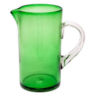 Pitcher, 'Vegetation' - Green Handblown Recycled Glass Pitcher Holds 66 Ounces