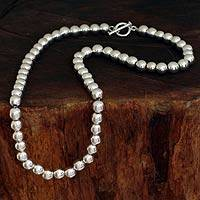 Sterling silver beaded necklace, 'Silver Droplets' - Sterling Silver Beaded Necklace