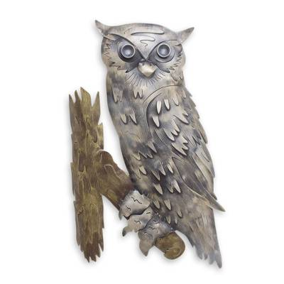 Iron wall adornment, 'Curious Owl' - Unique Steel Bird Wall Art