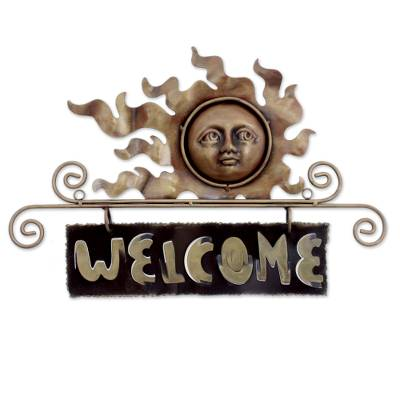 Handcrafted Sun and Moon Steel Welcome Sign Outdoor Living