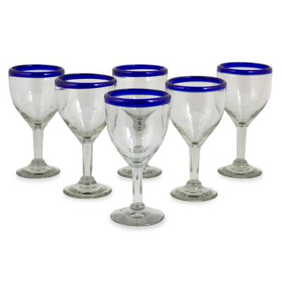 Wine goblets, 'Blue Can-Cun' (set of 6) - Handblown Glass Recycled Wine Drinkware Goblets (Set of 6)