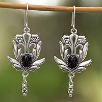 Onyx flower earrings, 'Rose Bud'
