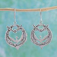 Sterling silver dangle earrings, 'Peace Doves' - Handcrafted Sterling Silver Dangle Bird Earrings