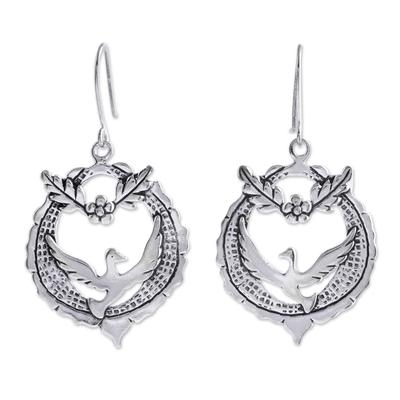 Handcrafted Sterling Silver Dangle Bird Earrings
