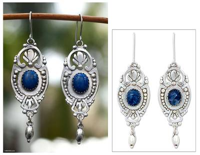 Sodalite dangle earrings, '19th Century' - Handcrafted Mexican Sterling Silver and Sodalite Earrings