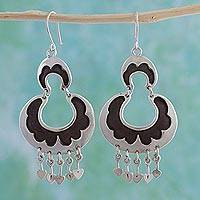 Sterling silver dangle earrings, 'Half Moons' - Sterling silver dangle earrings