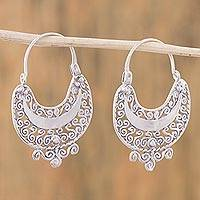 Sterling silver hoop earrings, 'Curlicue' - Sterling Silver Filigree Earrings from Mexico