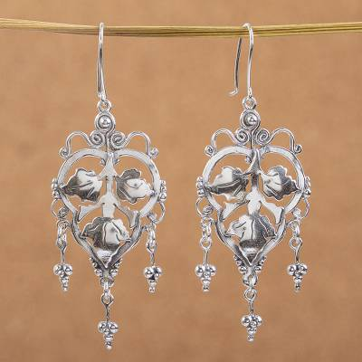 Sterling silver chandelier earrings, Three Leaves