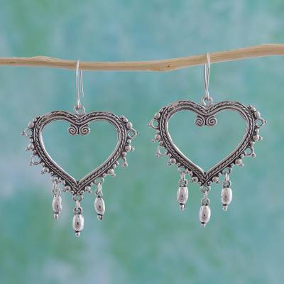 Sterling silver heart earrings, 'Heart of Frida' - Sterling silver heart earrings