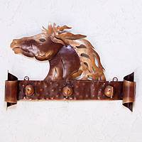 Iron coat rack, 'Horse of Gold' - Steel Horse Coat and Key Holder