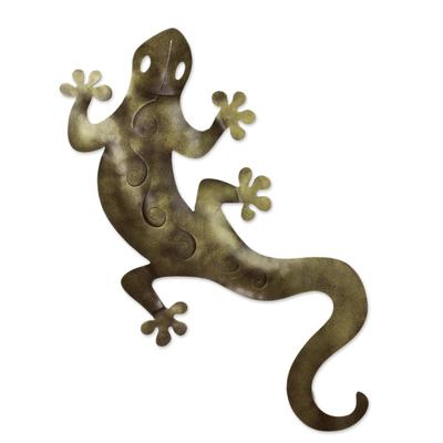 Fair Trade Green Lizard Steel Sculpture Wall Art