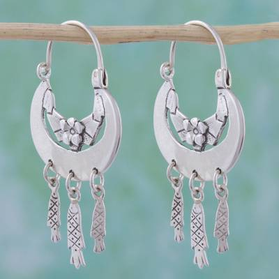 Sterling silver hoop earrings, 'Silver Fishes' - Collectible Floral Sterling Silver Hoop Sea Life Earrings