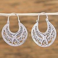Sterling silver hoop earrings, 'Peaceful Doves' - Unique Animal Themed Vintage Style Silver Bird Hoop Earrings