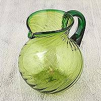 Blown glass pitcher, 'Lime Twist' - Handblown Green Glass Recycled Pitcher Serveware