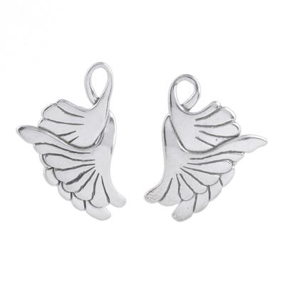 Sterling Silver Button Bird Earrings