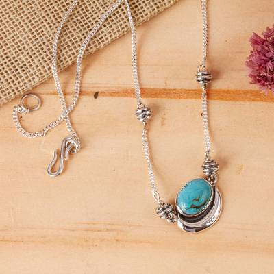 Necklace, 'Blue Moon' - Sterling Silver Mexican Jewelry Pendant Necklace