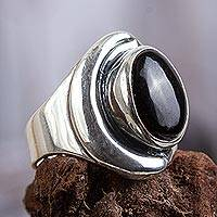 Obsidian ring, 'Midnight Moon' - Women's Handcrafted Obsidian Cocktail Ring