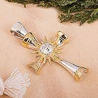 Gold accented sterling silver cross pendant, 'Bright as the Sun'