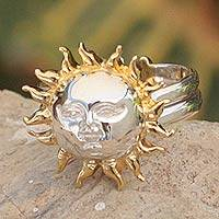Gold accented sterling silver wrap ring, 'Jolly Sun' - Celestial Gold Accent Sterling Silver Cocktail Ring