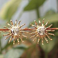 Gold plated button earrings, 'Majesty of the Sun' - Gold Plated Sun Button Earrings