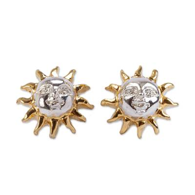 Gold Accent Sterling Silver Sunshine Earrings