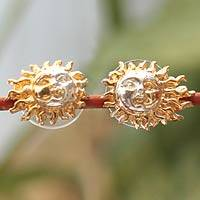 Gold plated earrings, 'Shadows on the Sun' - Handcrafted Mexican Gold Plated Gold Accent Earrings