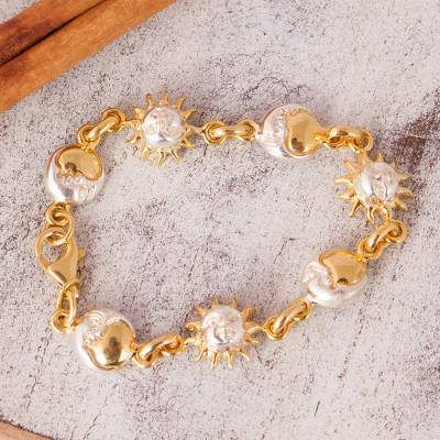 Gold plated bracelet, 'Celestial Dance' - Hand Crafted Sun and Moon Gold Accent Silver Bracelet