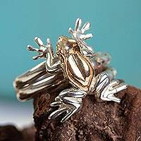 Gold accented wrap ring, 'Rain Frog' - 22k Gold Plated Frog Cocktail Ring