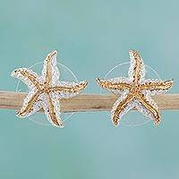 Gold plated button earrings, 'Treasures of the Sea' - Handmade Gold Accent Starfish Button Earrings