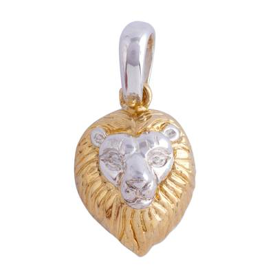 Mexican Gold Accent Lion Pendant
