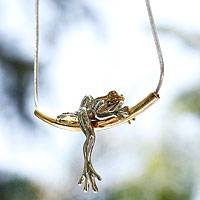 Gold plated necklace, 'Rain Frog Dreams'