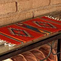 Zapotec table runner, 'Red Double Diamonds' - Unique Handwoven Mexico Zapotec Wool Table Runner 2 Ft Long