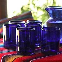 Extra large blown glass tumblers, 'Cobalt Charm' (set of 6) - Blue Recycled Large Glass Tumblers (Set of 6)