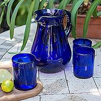 Glass pitcher, 'Cobalt Charm' - Blue Handcrafted Handblown Recycled Glass Pitcher