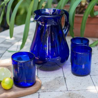 Blown glass pitcher, 'Pure Cobalt' - Blue Handcrafted Handblown Recycled Glass Pitcher