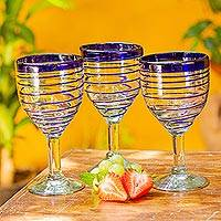 Featured review for Wine glasses, Tall Cobalt Spiral (set of 6)