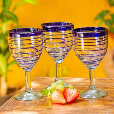 Wine glasses, 'Tall Cobalt Spiral' (set of 6) - Hand Blown Blue Accent Wine Glasses Set of 6 Mexico