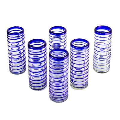 Highball glasses, 'Cobalt Spiral' (set of 6) - Hand Made Handblown Glass Six Drinking Glasses