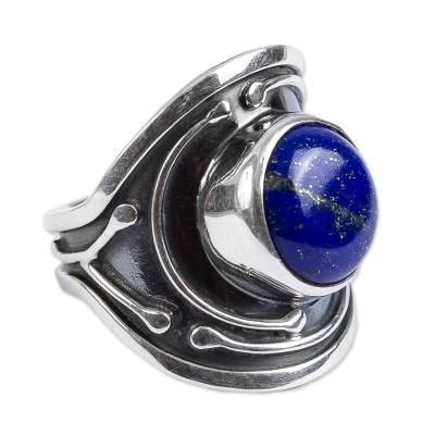Artisan Crafted Modern Sterling Silver Lapis Lazuli Ring