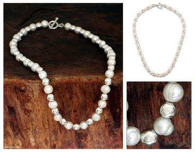 Pearl chain necklace, 'Silver Moon Cascade' - Pearl chain necklace