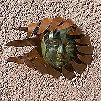 Iron wall adornment, 'Solar Wind' - Handcrafted Sun Sculpture Steel Wall Art from Mexico
