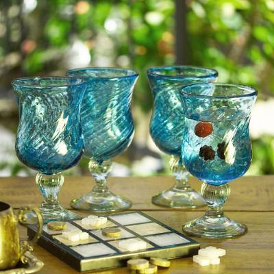 Cocktail glasses, 'Caribbean Sea' (set of 4) - Handmade Handblown Recycled Glass Cocktail Goblets Set of 4
