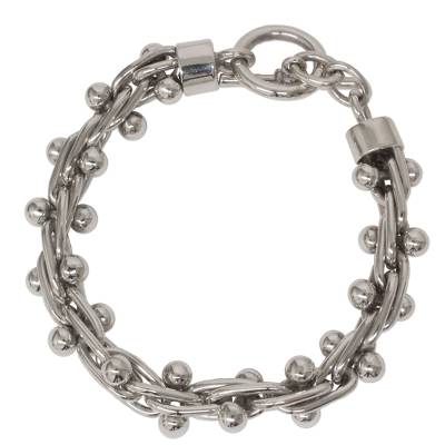 Unique Braided Sterling Silver Toggle Clasp Link Bracelet