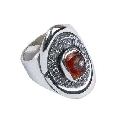 Handmade Sterling Silver Amber Ring