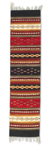 Zapotec wool runner, 'Diamond Path' (medium) - Collectible Zapotec Rug (Medium)