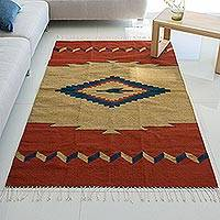 Zapotec wool rug, 'Center of the Universe' (4x6) - Zapotec wool rug (4x6)