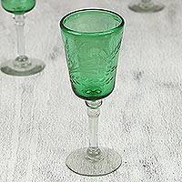 Etched wine glasses Emerald Flowers set of 4 Mexico